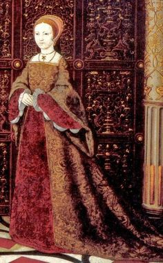 1543-47 Princess Elizabeth Tudor 1533-1603 Detail cropped from dynastic portrait of The Family of Henry VIII including his children