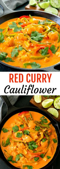 Thai Red Curry Cauliflower. An easy and flavorful meal ready in less than 30 minutes.