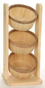 7802 Countertop Rack w/ Three Shallow 1/2 Peck Baskets