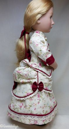 Late Victorian bustle dress plus a white under bustle to fit A girl for all time dolls Fabric Hair Bows, Red Fabric, Cotton Lace, Cotton Fabric, Bustle Skirt, Fitted Bodice, Up Hairstyles, Her Hair, American Girl