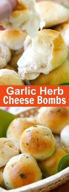 Garlic Herb Cheese Bombs – amazing cheese bomb biscuits loaded with Mozzarella cheese and topped with garlic herb butter. Easy recipe that takes 20 mins (Cheese Bombs) Bombe Recipe, Tasty, Yummy Food, Healthy Food, Quick Healthy Snacks, Easy Snacks, Snacks Für Party, Party Finger Foods, Appetizer Recipes