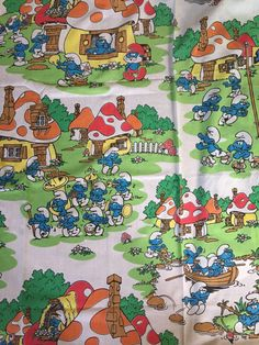 Vintage 80s smurfs flat sheet fabric