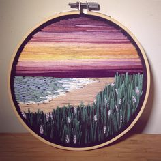 Peach Beach • SOLD • • • • #embroidery #embroideryart #embroideryhoopart #embroideryhoop #embroidered #embroideryinstaguild #etsy #etsyfinds #etsyseller #fibreart #instagood #instaart #beach #sunset #waves #happyplace #handmade #handstitched #oneofakind #wallhanging #homedecor #giftideas #bestofetsy #photooftheday #pretty #sky #vintage #vintagelook #flowerstagram #wildflowers