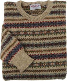 Fair Isle knitwear for men-Fair Isle crew in Crest design-Michael Ross Grandpa Sweater, Men Sweater, Tribal Sweater, Hipster Sweater, Swagg, Smart Casual, Lana, Bespoke, Cool Outfits
