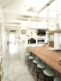 architecture + pattern + hint of mint | sardar design studio - love the flooring, countertop and minty stools