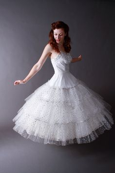 Vintage 1950s Party Dress - White Strapless Cupcake Princess Wedding Dress with Silver Sparkle