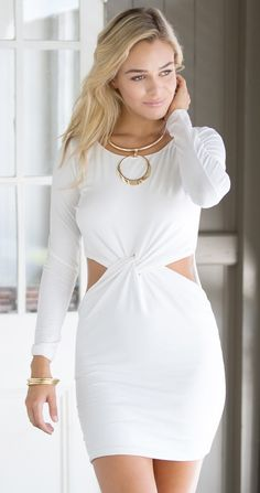 Darling White Knot Front Dress