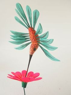 GORGEOUS HUMMINGBIRD OAXACAN WOOD CARVING ALEBRIJE SCULPTURE MEXICAN FOLK ART