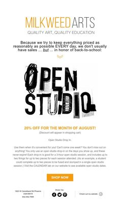 Back-to-School Promo at Milkweed Arts August Month, First They Came, Everything, Back To School, Student, Education, Month Of August, Entering School, Onderwijs