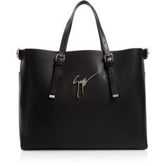 Giuseppe Zanotti Luisa Logo Tote (17.100.185 IDR) ❤ liked on Polyvore featuring bags, handbags, tote bags, black, real leather tote, buckle purses, real leather purses, leather tote purse and real leather handbags