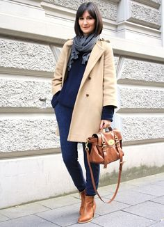 Classic Style | Cream or light tan coat | Navy blue jumper | Dark wash jeans | Grey scarf | Brown boots and bag