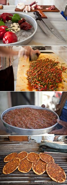 Making Lahmajun (thin dough topped with minced meat, vegetables and herbs); photos ©️ Tuba Şatana Making Lahmajun (thin dough topped with minced meat, vegetables and herbs); Middle East Food, Middle Eastern Dishes, Middle Eastern Recipes, Armenian Recipes, Lebanese Recipes, Turkish Recipes, Persian Recipes, Comida Armenia, Arabian Food