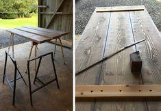 Sådan skrues plankerne sammen til plankebordet.