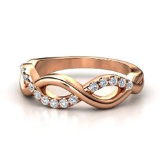 14K Rose Gold Ring with Diamond - lay_down