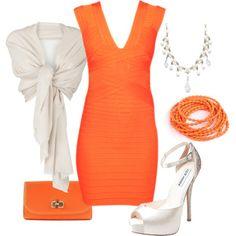 Orange Band Dress with Shawl