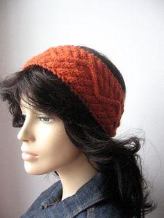 Pumpkin Orange Cabled Knit Headband Earwarmer Knit by KnitsByNat