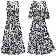 Black & White Floral With Sparkles Slinky Print Plus Size & Supersize Short or Long Sleeve Dresses & Tanks - Sizes Lg to 9x
