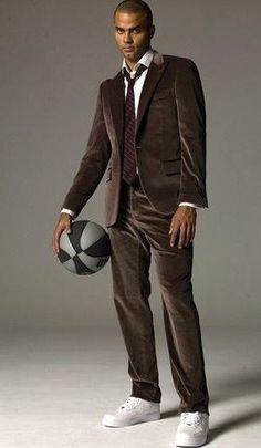 Tony Parker in brown #velvet suit
