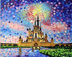 Original art - Cinderella's castle Walt Disney world painting fantasy land children fairytale Florida oil painting Nataliia Zolot