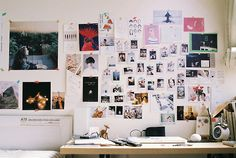 Washi tape and polaroids wall design.