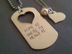 Home Is Where My Heart Is Military Couple Set- Hand Stamped Personalized Jewelry for Couples, Deployment Jewelry, Army Wife Jewelry