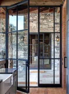 Add architectural interest: French door styles and ideas in the . - Add Architectural Interest: French Door Styles and Ideas in … Add Architectural Interest: French - Crittall, Pivot Doors, Entry Doors, Front Doors, Wood Doors, Front Entry, Front Porch, Panel Doors, Wood Glass Door