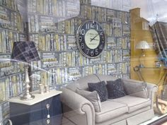 Statement window display by Interiors Unlimited, featuring our First Edition wallpaper from our Icon range... www.prestigious.co.uk/wallcoverings/icon