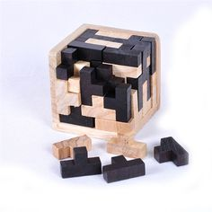 3D Wooden Tetris Puzzle Cube Educational Toy for All Ages - FREE Shipping Worldwide
