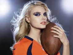 DENVER BRONCOS fans, get your Covergirl #GAMEFACE on! (Get the Look at covergirl.com/NFL: Liquiline Blast Eyeliner - Blue Boom, Ink It! Eyeliner - Golden Ink Flamed Out Shadow Pencil - Crystal Flame, Outlast Stay Brilliant Nail Gloss - Sapphire Flare, Snow Storm, XL Nail Gel - Overblown Orange)
