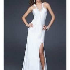La Femme White Formal Dress