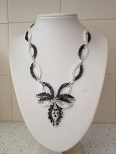 Black and White Seed Bead Motif Necklace by TwinklingGems