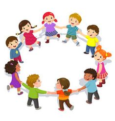 Happy kids holding hands in a circle cute boys vector
