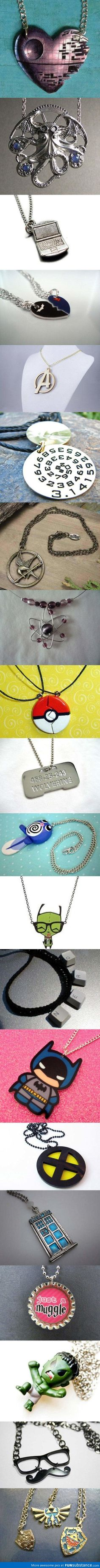 A collection of 20 cool and creative necklaces for geeks