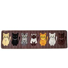 "cute cat rug - Wolala Homeâ""¢ Modern Cartoon Style 7 Handsome Cats Non-slip Absorbent Kitchen Rug Runners Thin Girls Bedroom Bedside Area Rugs(1'6x6'0, Brown) * Visit the image link more details. (This is an affiliate link) #CuteCats"