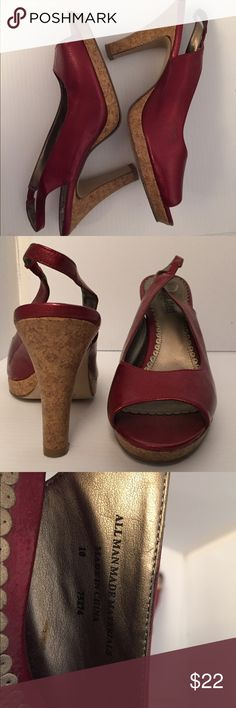 """Brand """"Unlisted"""" Cork and Red Size 10 UNLISTED Size 10 pre loved! Good condition, great color! Man made material. Unlisted Shoes"""