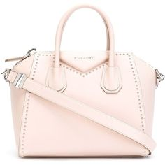 Givenchy small 'Antigona' tote ($2,135) ❤ liked on Polyvore featuring bags, handbags, tote bags, zip top tote, pink studded handbag, givenchy, pink purse and zip top tote bag
