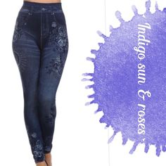 """INDIGO SUN & ROSES PAINTED JEGGINGS! More comfy cuteness in these Indigo Sun & Roses jeggings. Adorable faux pockets with beautiful designs. Fits sizes 6-16. Great for every day and Super stretchy! 95% polyester/5% spandex. Easy way to spruce up that t-shirt!                                                   ♦️waist 25-42""""  hips 28-54""""  inseam 25-34"""" (I added a 1"""" piece of elastic to the bottoms of mine to keep them stretched in booties)PLEASE DO NOT BUY THIS LISTING, I will personalize one…"""