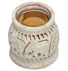 """""""Elephants Imprints"""" #Wholesale #HandCarved #Soapstone #Aromatherapy #OilWarmer / #TeaLight Holder with a Glass Bowl – Home Décor Accessories"""
