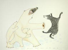 Wolf Pestering Mother Polar Bear..., by Kananginak Pootoogook (Inuit artist), 1999 Polar Bear Images, Polar Bears, Inuit Art, Polaroid, Arctic Circle, Native American Art, First Nations, Animal Drawings, Alaska