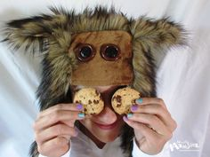 Chocolate Chip Monsterface Aviator hat Monsters-love-cookies by MostlyMonstersCV