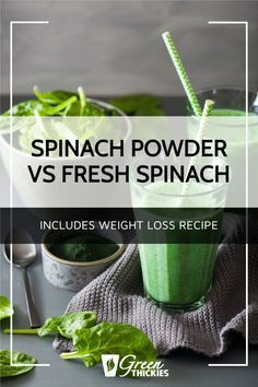 Spinach powder vs fresh spinach. Science tells us which is the winner. Make your own or buy spinach powder and make my spinach powder smoothie for weight loss. Green Smoothie Cleanse, Green Detox Smoothie, Green Smoothie Recipes, Green Smoothies, Smoothie Diet, Raw Vegan Recipes, Vegan Food, Get Healthy, Healthy Food