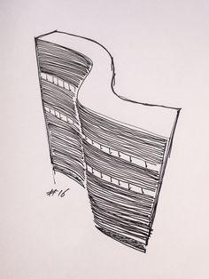 #16 Copan Building, 1954, by Oscar Niemeyer in São Paulo, Brazil // sketchingin.wordpress.com