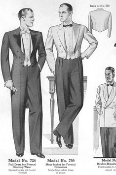 Classic Formal Attire  1930s from Chicago Woolen Mills 1936 Catalog