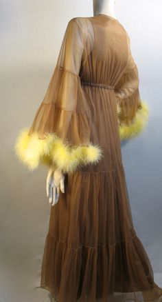 70s peignoir set in copper with golden feather trim.