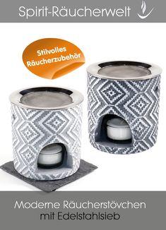 Kombi-Räucherstövchen Ava mit Edelstahlsieb  Praktisches, dunkelgraues, modernes Kombi-Räucherstövchen aus Beton. Das trendige, weiße Retromuster macht es zu einem echten Hingucker. Zum Stövchen gehören eine weiße Keramikschale zum Verdunsten von ätherischen Ölen und ein Edelstahlsieb zum Räuchern. Die Schale kann zudem auch zum Räuchern mit kleiner Kohle verwendet werden. Dazu die Schale mit Räuchersand füllen. Charcoal, Coaster