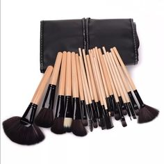 24 Piece Makeup Brushes with Case Powder Brush: Uniform blending of powder products onto the face. Angled Face Brush/Blush Brush: Buffing of blush on the face, cheeks & chin. Fan Brush Large/Small Foundation Brush: Apply foundation-liquid, cream or solid. Blending/Crease Brush Concealer Brush Medium Shading Brush Lip Brush Pencil Brush Normal/Angled Eyeliner Brush Sponge Brush Eyeshadow Brush Mascara/Eyebrow-Lash Comb Large/Small Angled Contour Brush Smudge Brush:  Large Shadier Brush Fluff…