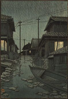 JAPANESE-WOODBLOCK-PRINT-KAWASE-HASUI-Evening-Rain-in-Kawarago-no-yao-c-1947