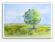 landscape art  Original Watercolor Painting  by WatercolorByMuren, $185.00