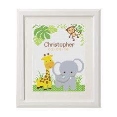 Birth announcement Cross Stitch baby birth от AnimalsCrossStitch