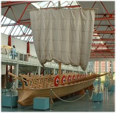 The Gray Monk: reconstruction of an ancient river boat, such as would have been used by the Roman Navy on the Rhine.